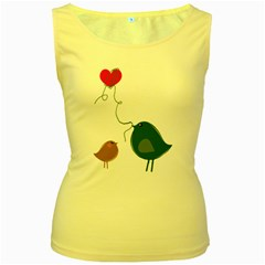 Love Birds Yellow Womens  Tank Top