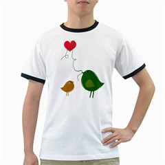 Love Birds White Ringer Mens'' T Shirt
