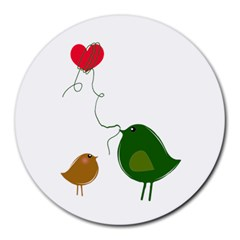Love Birds 8  Mouse Pad (Round)