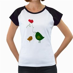 Love Birds White Cap Sleeve Raglan Womens  T-shirt
