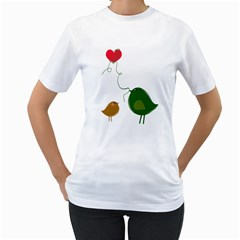 Love Birds White Womens  T-shirt