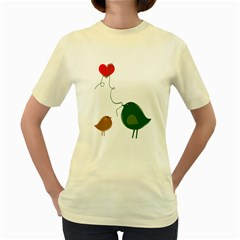 Love Birds Yellow Womens  T Shirt