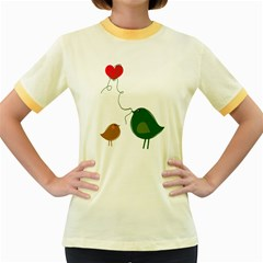 Love Birds Colored Ringer Womens  T-shirt