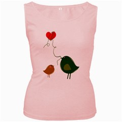 Love Birds Pink Womens  Tank Top