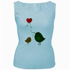 Love Birds Baby Blue Womens  Tank Top