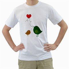 Love Birds White Mens  T-shirt