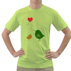 Love Birds Green Mens  T-shirt