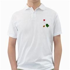 Love Birds White Mens  Polo Shirt
