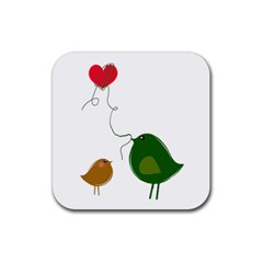 Love Birds 4 Pack Rubber Drinks Coaster (Square)