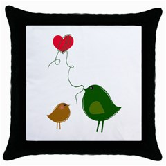 Love Birds Black Throw Pillow Case
