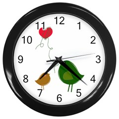 Love Birds Black Wall Clock