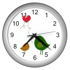 Love Birds Silver Wall Clock