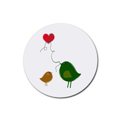 Love Birds 4 Pack Rubber Drinks Coaster (round)