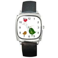 Love Birds Black Leather Watch (Square)