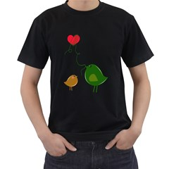 Love Birds Twin-sided Black Mens'' T-shirt