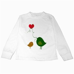 Love Birds White Long Sleeve Kids'' T Shirt