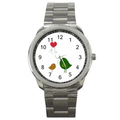 Love Birds Stainless Steel Sports Watch (Round)
