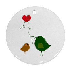 Love Birds Twin-sided Ceramic Ornament (Round)