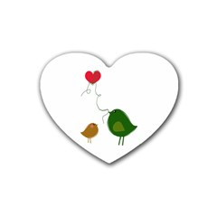 Love Birds 4 Pack Rubber Drinks Coaster (Heart)