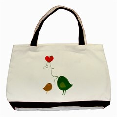 Love Birds Twin-sided Black Tote Bag