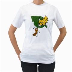 Animal World White Womens  T-shirt