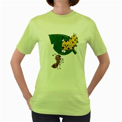 Animal World Green Womens  T-shirt