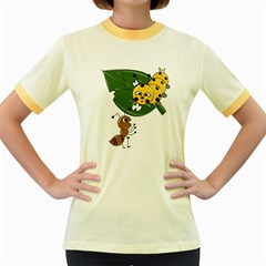 Animal World Colored Ringer Womens  T Shirt