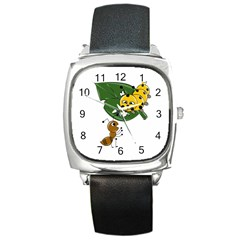 Animal World Black Leather Watch (square)