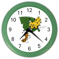 Animal World Colored Wall Clock