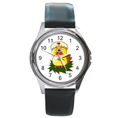 Coming Bird Black Leather Watch (Round)
