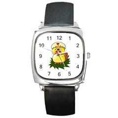Coming Bird Black Leather Watch (square)