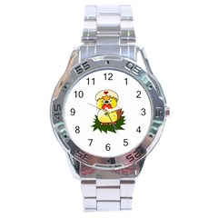 Coming Bird Stainless Steel Analogue Watch (round)