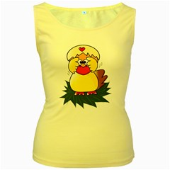 Coming Bird Yellow Womens  Tank Top