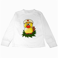 Coming Bird White Long Sleeve Kids'' T Shirt