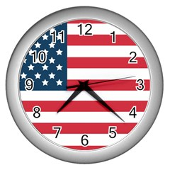 Flag Silver Wall Clock