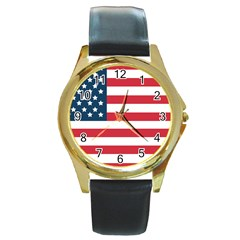 Flag Black Leather Gold Rim Watch (Round)
