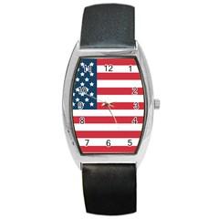 Flag Black Leather Watch (Tonneau)