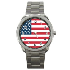 Flag Stainless Steel Sports Watch (round)