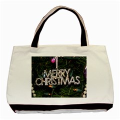 Merry Christmas  Twin Sided Black Tote Bag