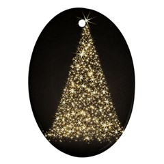 Christmas Tree Sparkle Jpg Ceramic Ornament (Oval)