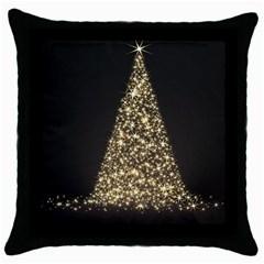 Christmas Tree Sparkle Jpg Black Throw Pillow Case