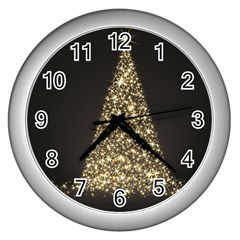 Christmas Tree Sparkle Jpg Silver Wall Clock