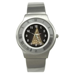Christmas Tree Sparkle Jpg Stainless Steel Watch (round)