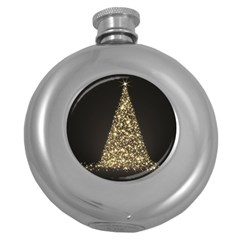 Christmas Tree Sparkle Jpg Hip Flask (round)