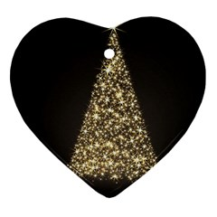 Christmas Tree Sparkle Jpg Heart Ornament (Two Sides)