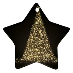 Christmas Tree Sparkle Jpg Twin-sided Ceramic Ornament (Star)