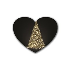 Christmas Tree Sparkle Jpg 4 Pack Rubber Drinks Coaster (heart)