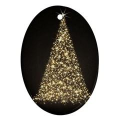Christmas Tree Sparkle Jpg Ceramic Ornament (Oval)