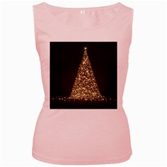 Christmas Tree Sparkle Jpg Pink Womens  Tank Top