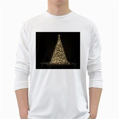 Christmas Tree Sparkle Jpg White Long Sleeve Man''s T Shirt
